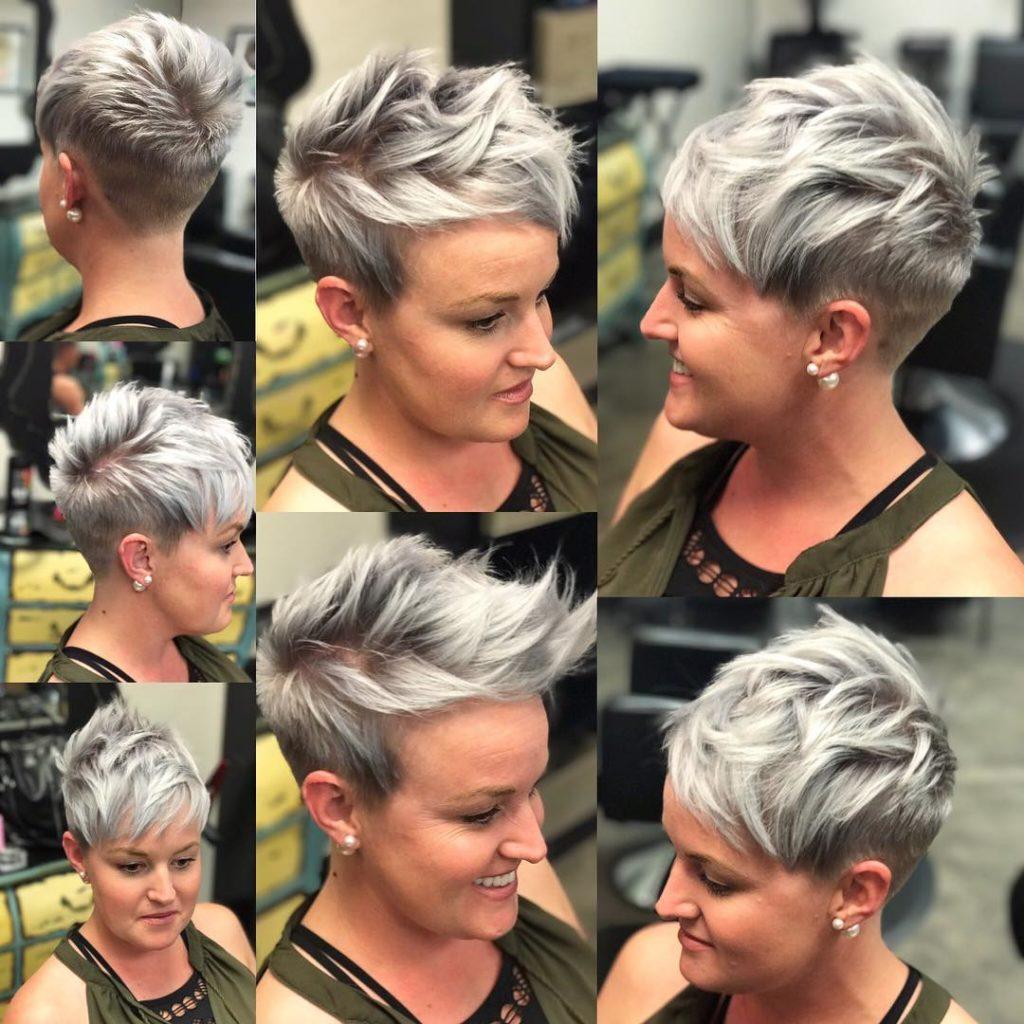 Chic Choppy Textured Pixie on Silver Hair