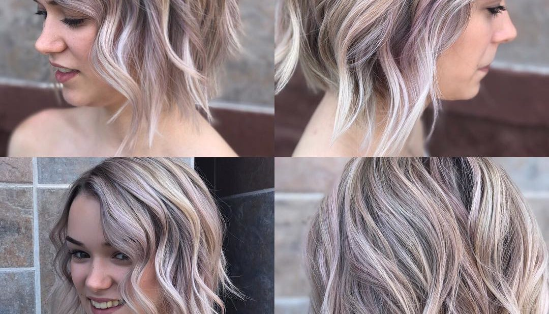 Textured Wavy Bob On Ashy Blonde Hair with Rose Gold Highlights