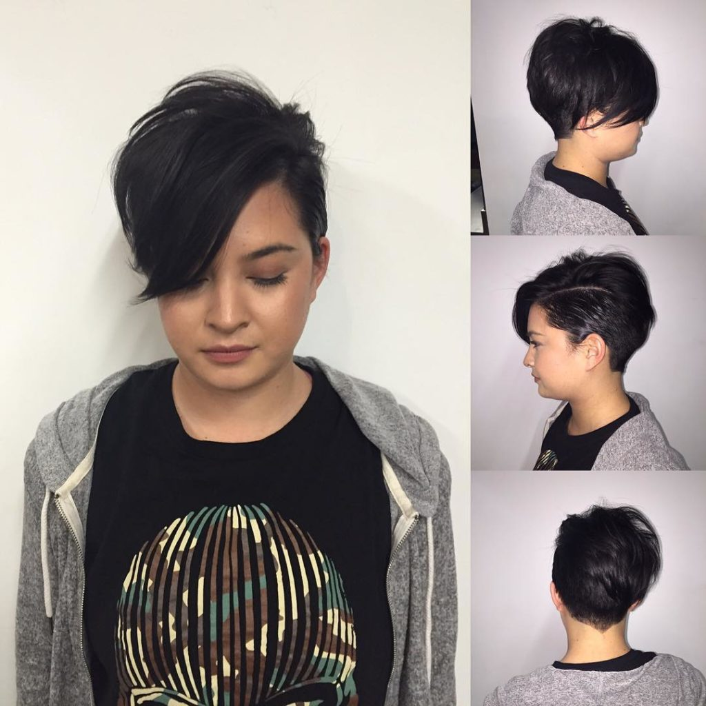 Edgy Pixie with Long Voluminous Top Fringe on Black Hair