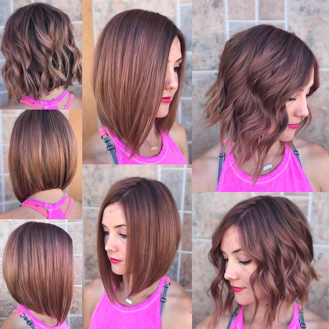 Versatile Warm Brunette Colored Angled Bob with Highlights