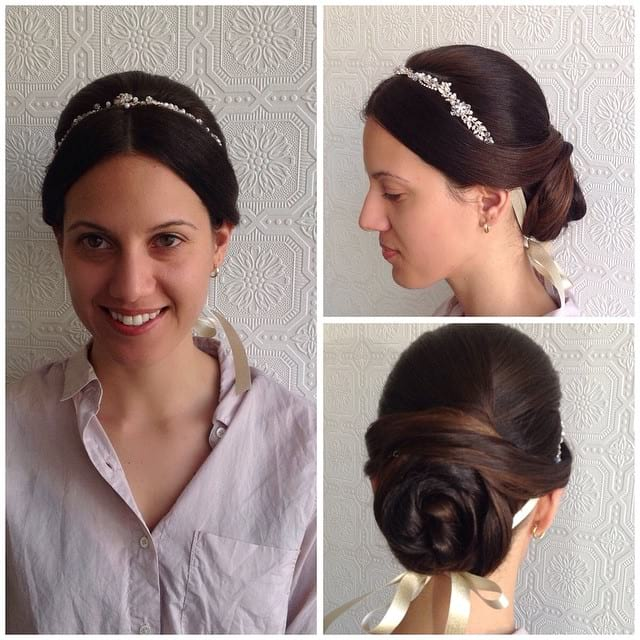 Twisted Bun with Floral Pearl Head Band on Brunette Hair with Balayage