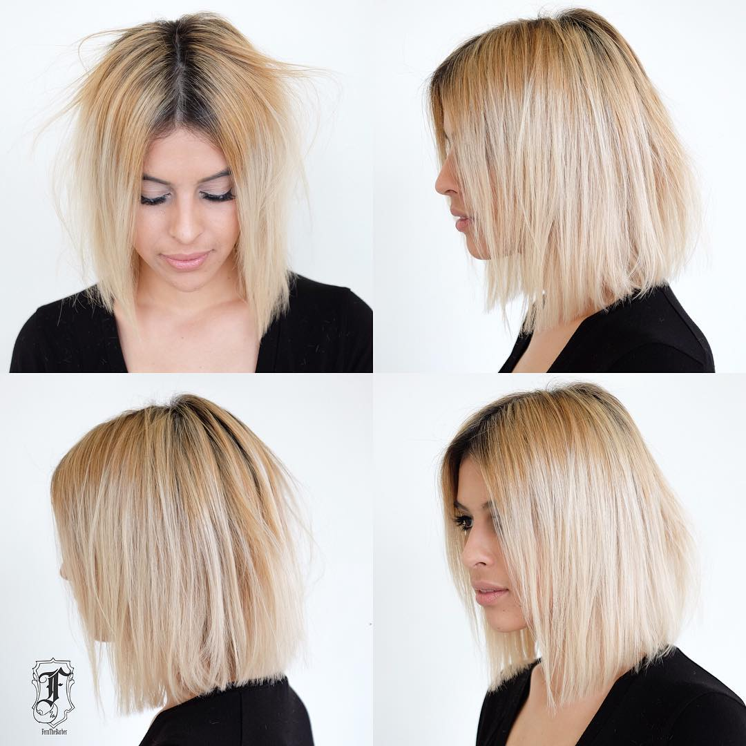 Slightly Disheveled Blunt Shoulder Length Bob on Blonde Hair with Dark Roots