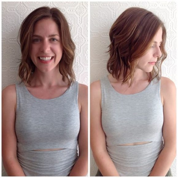 Wavy Shoulder Length Messy Bob with Balayage
