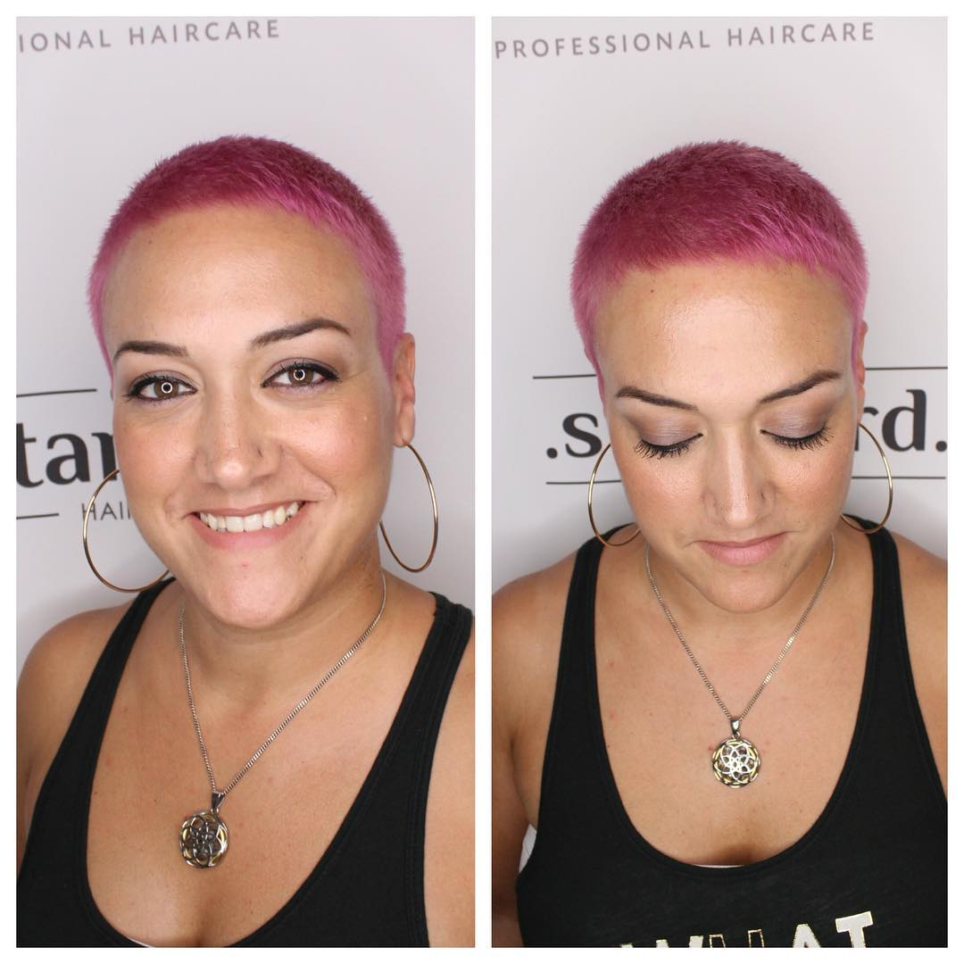 Bright Pink Buzz Cut Pixie