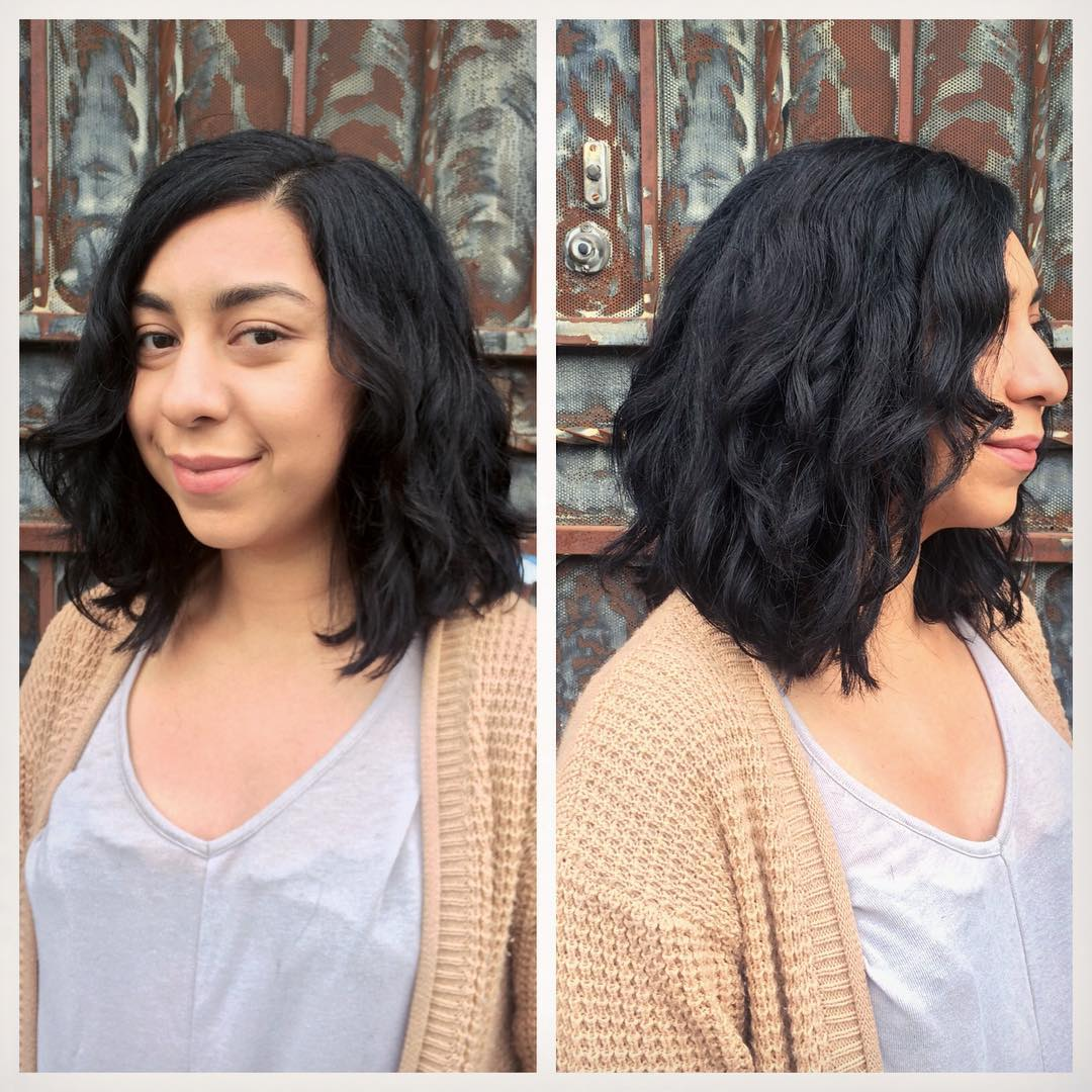 Shoulder Length Wavy Layered Bob on Black Hair