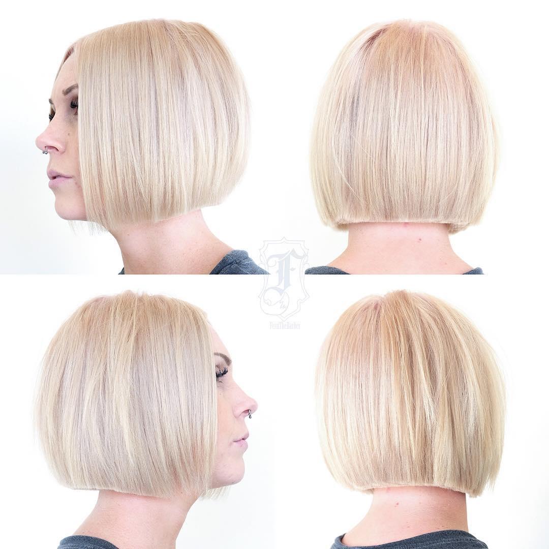 Short Sleek Blunt Clipper Bob on Platinum Blonde Hair