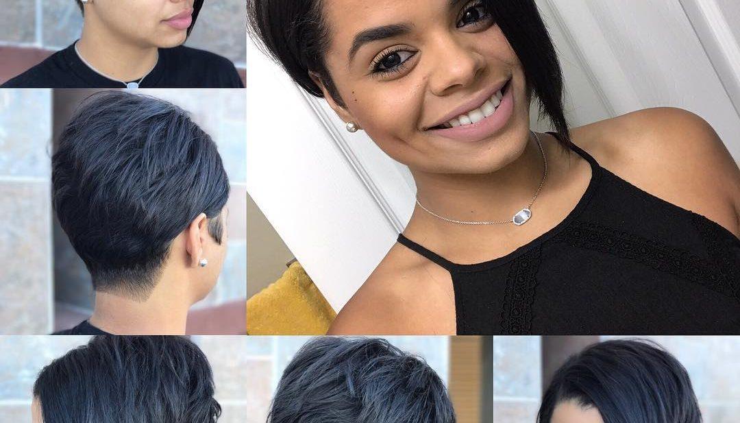 Edgy Sexy Asymmetrical Pixie on Black Hair