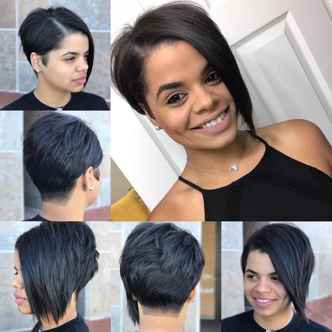 Edgy Asymmetrical Pixie on Black Hair