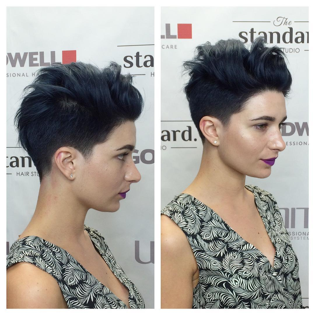 Sexy Black Ombre Pixie with Silver Tips and Messy Voluminous Top Lengths
