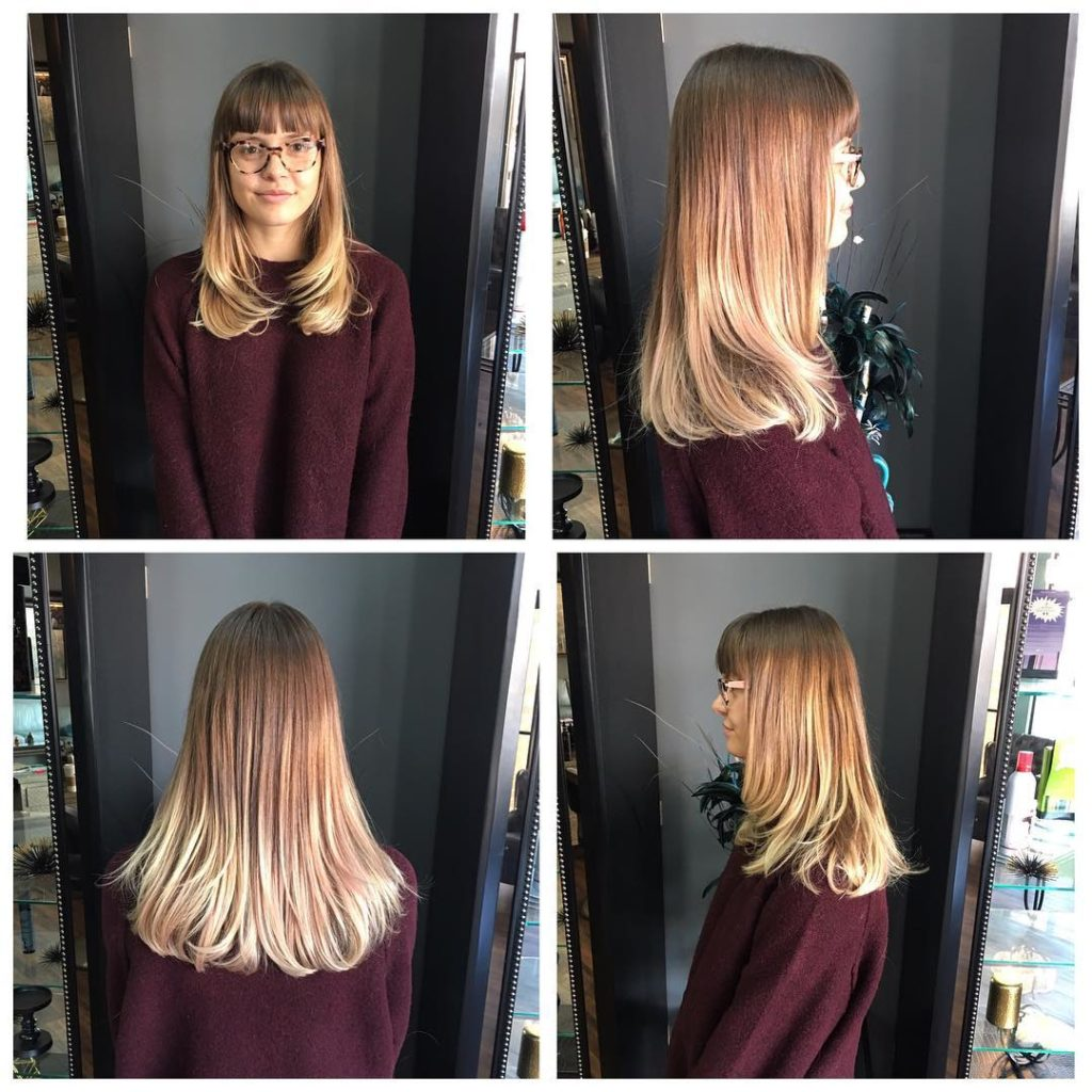 Longhair with Razor Cut Layers and Blunt Bangs on Light Brown