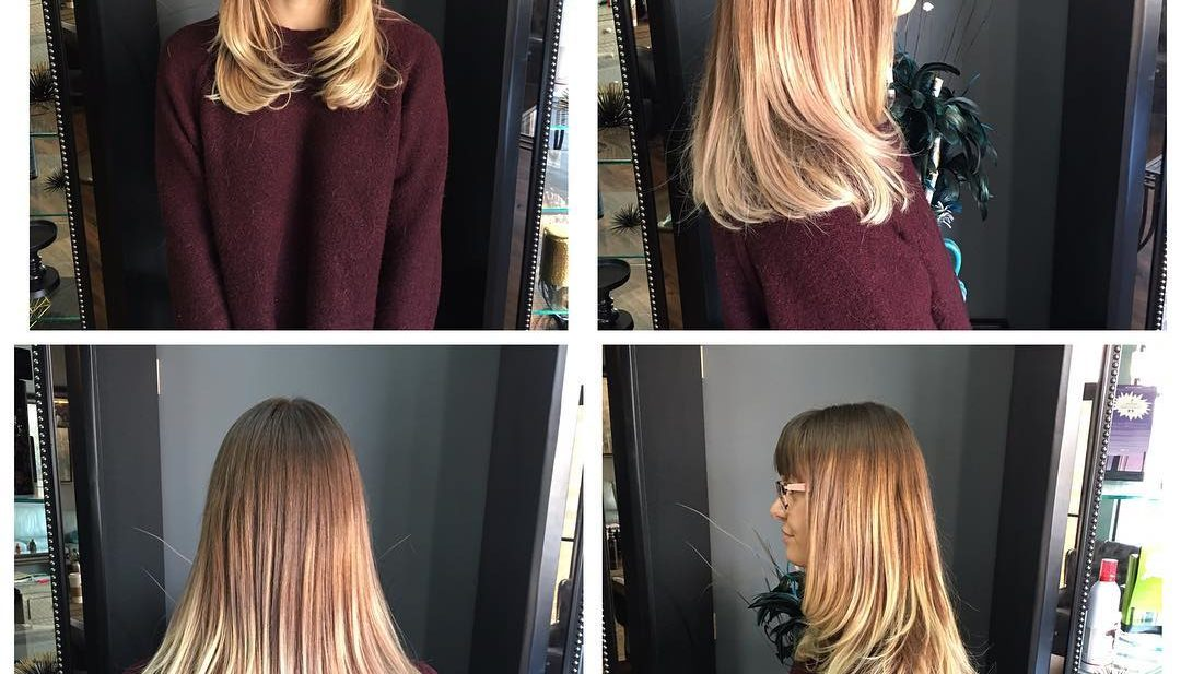 Longhair with Razor Cut Layers and Blunt Bangs on Light Brown Ombre