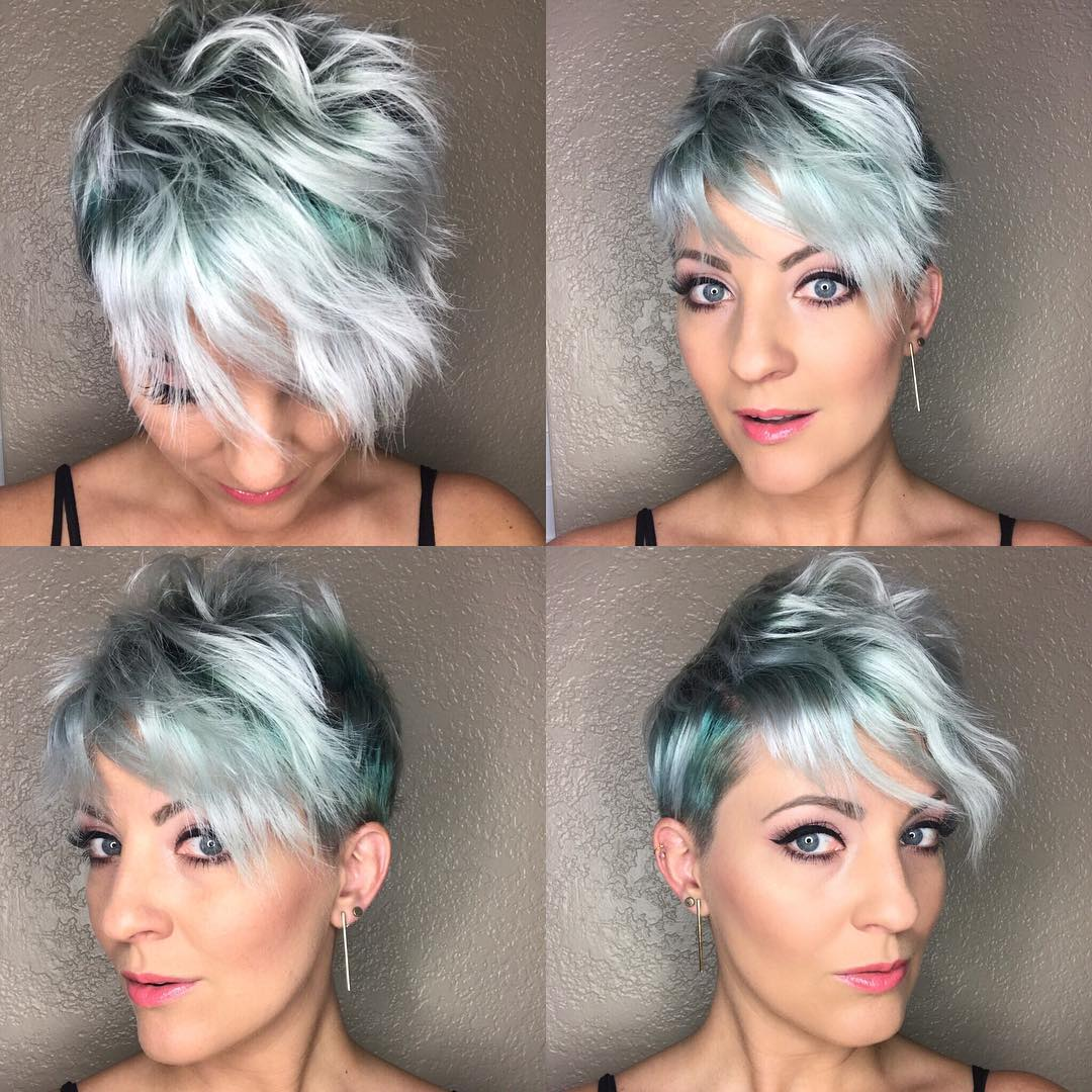 Disheveled Pixie with Emerald Green and Silver Fade Color