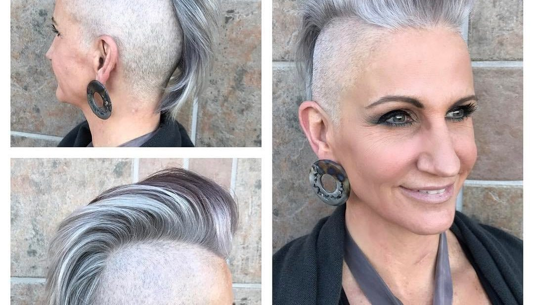 Silver and Grey Faux Hawk Pixie Cut with Pompadour and Shaved Sides