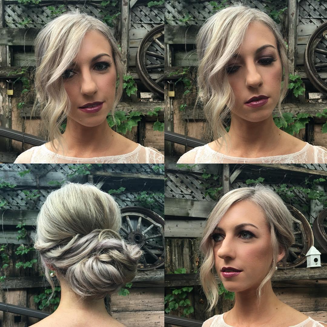 Loose Bun on Long Curled Blonde Hair