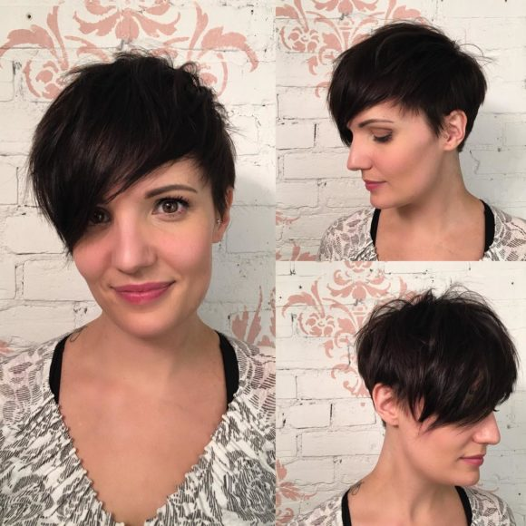 Dark Sexy Messy Pixie with Fringe Layers
