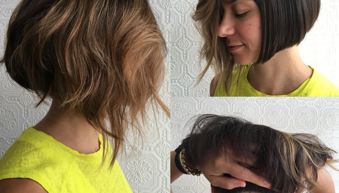 Versatile Brunette Asymmetrical Undercut Bob with Shaved Nape